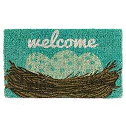 Welcome Doormat with Nest & Eggs