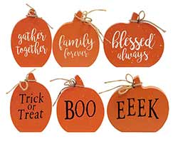 Reversible Pumpkin Shelf Sitters (Set of 3)