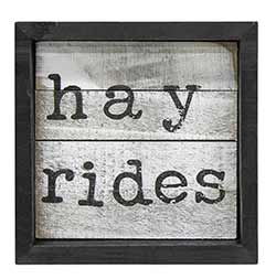 Hayrides Framed Sign