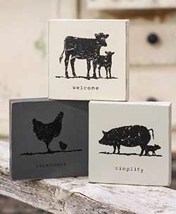 Farm Animal Shelf Sitter Signs (Set of 3)