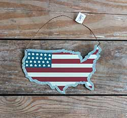 USA Flag Tin Ornament