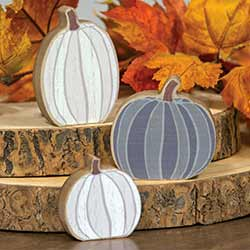 Gray & White Pumpkin Shelf Sitters (Set of 3)