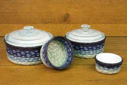 Blueberry and Creme Braided Jute Baskets (Set of 4)