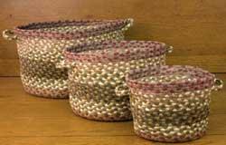 Olive, Burgundy, & Gray Utility Basket