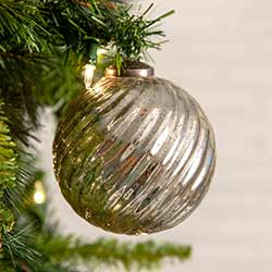 Silver Glass Ball Ornaments (Box of 4)
