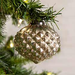 Silver Glass Diamond Pattern Ornaments (Box of 4)