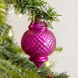 Pink Glass Finial Ornaments (Box of 4)
