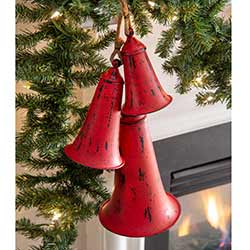 Distressed Red Metal Bells (Set of 3)
