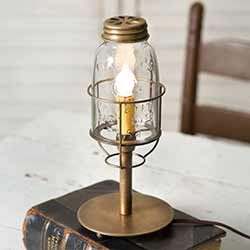 Antique Brass Mason Jar Desk Lamp - Short