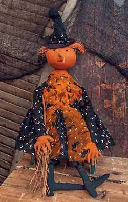 Primitive Pumpkin Witch Doll