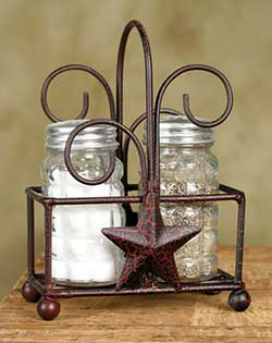 Star Salt and Pepper Caddy - Red Crackle