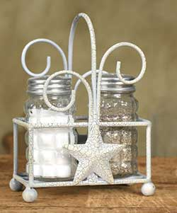 Star Salt and Pepper Caddy - White/Grey Crackle