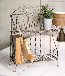 Distressed Metal Display Shelf