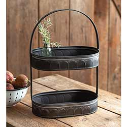 Black Oval Two-Tiered Tray
