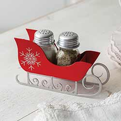 Red Sleigh Salt and Pepper Caddy