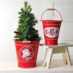 Red Santa Christmas Buckets (Set of 2)