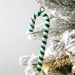 Green Metal Candy Cane Ornaments (Set of 4)
