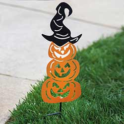 Pumpkin Stack with Witch Hat Garden Stake