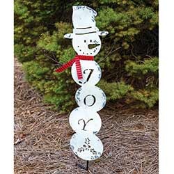 Joy Snowman Garden Stake