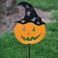 Pumpkin with Witch Hat Garden Stake