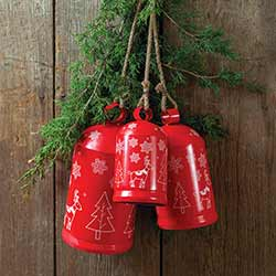 Red Cylinder Metal Bells (Set of 3)