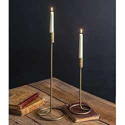 Antiqued Brass Candlesticks (Set of 2)