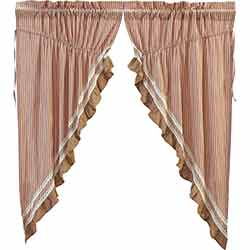 Kendra Red Ticking Stripe 63 inch Prairie Curtain
