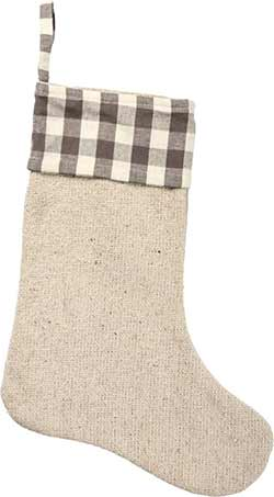 Buffalo Check Gray Christmas Stocking