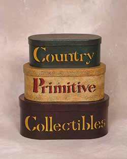 Country Primitive Collectibles Stacking Boxes (Set of 3)