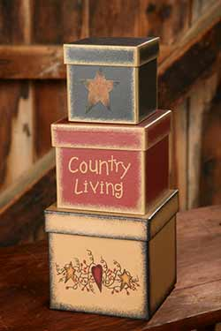Country Living Stacking Boxes (Set of 3)