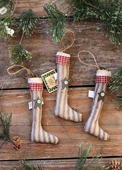 Primitive Stockings Ornaments (Set of 3)