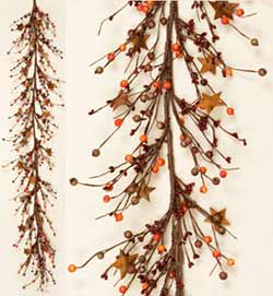 Fall Berry Garland with Rusty Stars