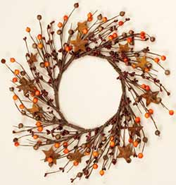 Fall Berry Candle Ring with Rusty Stars