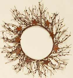 Rusty Star & Berry Candle Ring / Wreath