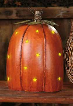 Punched Tin Star Pumpkin Light