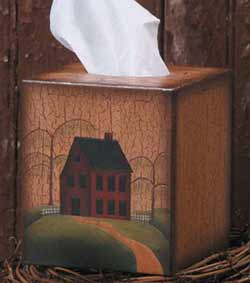 Primitive House Tissue Box Cover