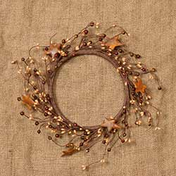Mixed Berry and Rusty Star Candle Ring / Wreath