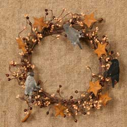 Burgundy & Light Gold Berry Wreath with Rusty Stars & Crows