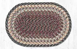Burgundy, Gray, and Creme Cotton Braided Placemat - Oval