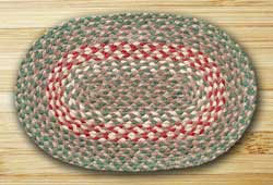 Green & Burgundy Jute Placemat