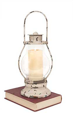 Distressed White Railway Candle Lantern