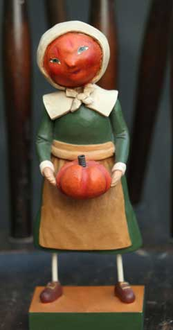 Harvest Pumpkin Pilgrim Girl Figurine