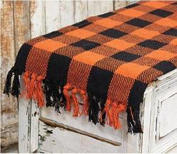 Black and Orange Buffalo Check 56 inch Table Runner