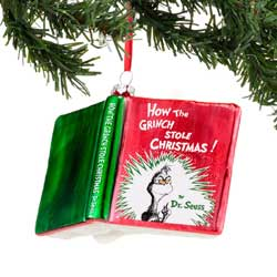 Grinch Book Ornament