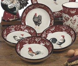 Country Rooster Soup/Pasta Bowls (Set of 4)