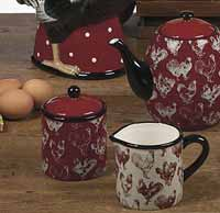 Country Rooster Sugar / Creamer Set