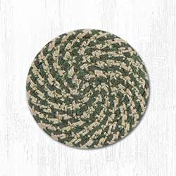 Green & Burgundy Cotton Braided Coaster