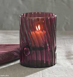 Eggplant Swirl Glass Candle Holder