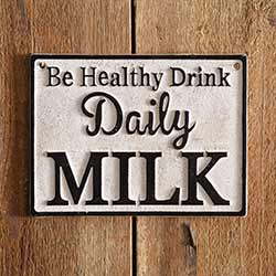Milk Daily Cast Iron Sign