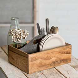 Rustic Wood & Metal Caddy